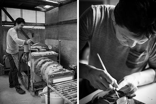 土練機を操作する瓦師・瓦切り文字の彫りの作業をする瓦師